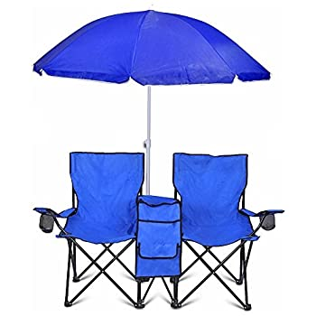 GoTeam Portable Double Folding Chair w/Removable Umbrella Cooler Bag and Carry Case - Blue