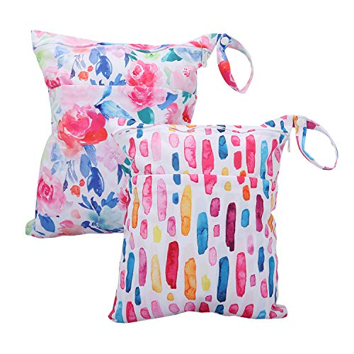 Wet Bag for Swimsuit Waterproof Reusable Bags with Two Zippered Pockets Graffiti Watercolor Wet Dry Bag Travel Beach Pool Yoga Gym Bag for Pump Wet Clothes 2pcs