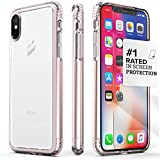 iPhone X/XS Case, SaharaCase Protective Kit Bundle + ZeroDamage Tempered Glass Screen Protector Rugged Protection Anti-Slip Grip Shockproof Bumper Anti-Scratch Back Slim Fit - Clear Rose Gold