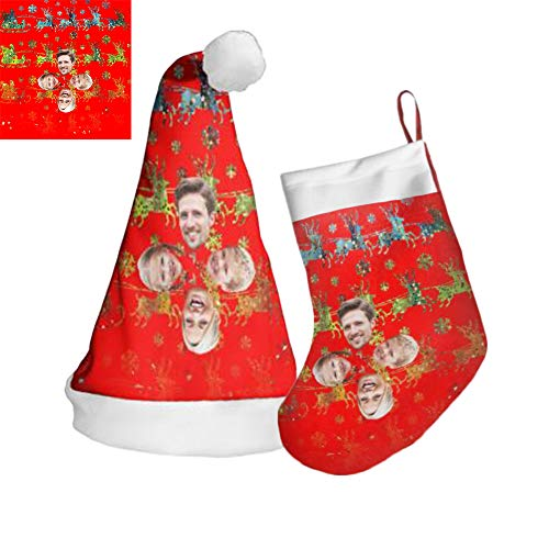 Foto Personalizada Sombrero De Navidad Sombrero Nombre Medias Con Imágenes Bordado De Navidad Medias De Navidad Sombreros De Terciopelo Dorado Regalos Personalizados(Estilo 10 1 sombrero + 1 calcetín)