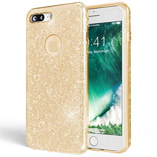 NALIA Handyhülle kompatibel mit iPhone 7 Plus, Glitzer Ultra-Slim Silikon-Case Back-Cover Schutz-Hülle, Glitter Sparkle Handy-Tasche Schale Bumper, Dünnes Bling Strass Edel Smart-Phone Etui - Gold