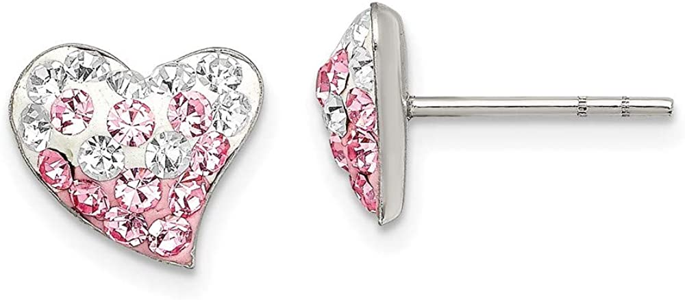 Sterling Silver Pink and White Preciosa Crystal Post Earri Heart ...