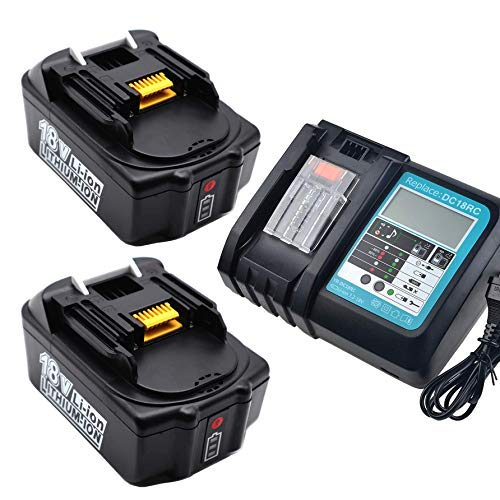 2x BL1850B 18V 5.0Ah replacement battery with charger DC18RC charger for Makita 18V LXT400 BL1850 BL1860, Makita radio DMR108 DUH523Z DUC353Z DHR182Z DLM431Z DLM380Z DVC260Z DTW190Z DTD152Z