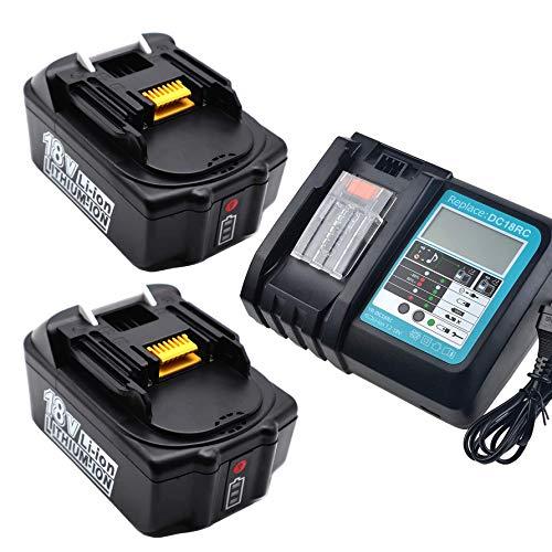 FengBP 2x5A 5000mAh 18V batería recargable de ion de litio para batería recargable Makita BL1850 BL1830 BL1830 DC18RC Cargador con indicador de carga