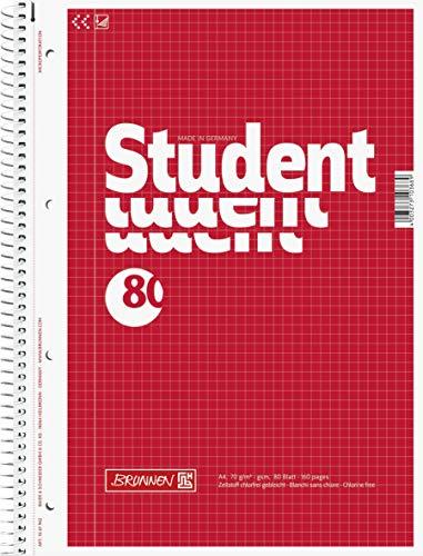 Brunnen 1067942 Notizblock / Collegeblock Student (A4, kariert, 70 g/m², 80 Blatt) 5 Stück