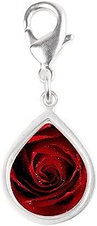 Silver Teardrop Charm Red Rose