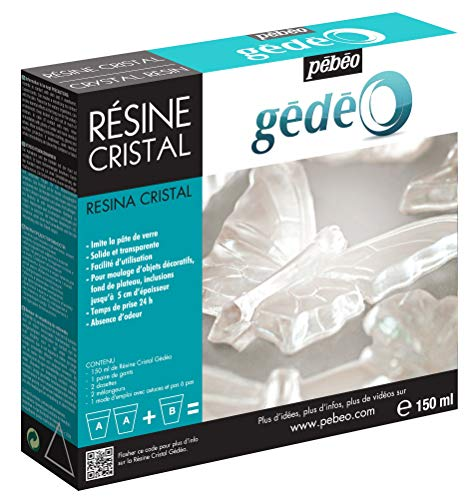 Pébéo - Gédéo Kit Résine Cristal 150 ML - Résine Époxy Transparente Effet Pâte de Verre - Pébéo Cristal - Pour Inclusion, Coulage, Moulage, Vernis - Compatible Bois & Autres Matériaux 150 ML
