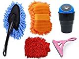 Car Accessories, Vehicle Washing/Cleaning Accessories, Microfiber Brush, Microfiber Sponge, Microfiber Gloves, car dustbin, Glass Wiper for Car (Pack of Five) car Cleaning Combo kit