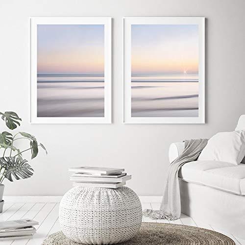 Landskap väggkonst natur solstigande havsnivå affischer canvasmålning minimalistisk väggkonst tryck bilder heminredning 30 x 40 cm x 2 utan ram