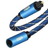 EMK 1M Cable de audio óptico Toslink macho a hembra, adaptador de extensión, cable trenzado de nailon, compatible con cine en casa, barra de sonido, TV, PS4, Xbox, Playstation y más, azul