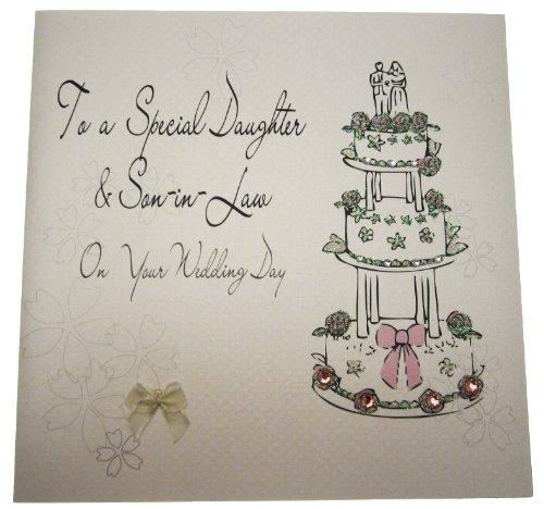 White Cotton Cards Code xlbd2 to a speciale dochter en schoonzool On Your Wedding Day handgemaakt groot huwelijk kaart