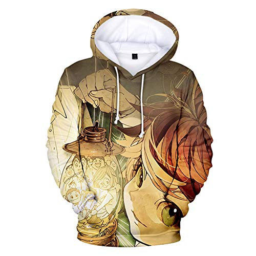 YZJYB The Promised Neverland Sudaderas con Capucha Hombre 3D Impreso Emma Cartoon Pullover Hoodie con Bolsillos De Mangas Largas Pullover Sweatshirt Mujer,X~Small
