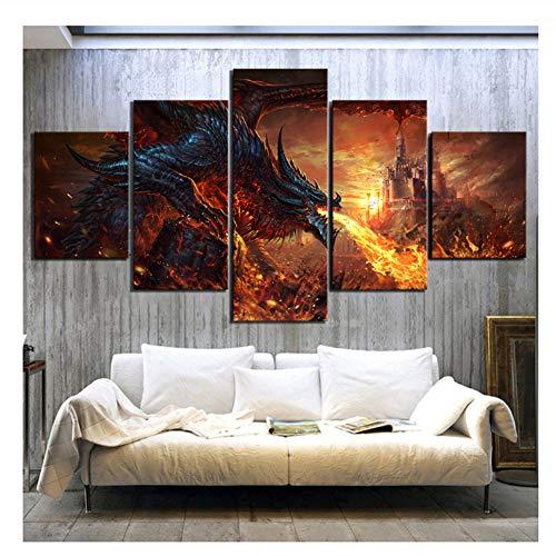 Suuyar World of Warcraft Game Poster Fantasie Kunst Gemälde Feuer Drachen Poster Bilder Leinwand Gemälde Wandkunst Dekor-40x60 40x80 40x100cm Kein Rahmen