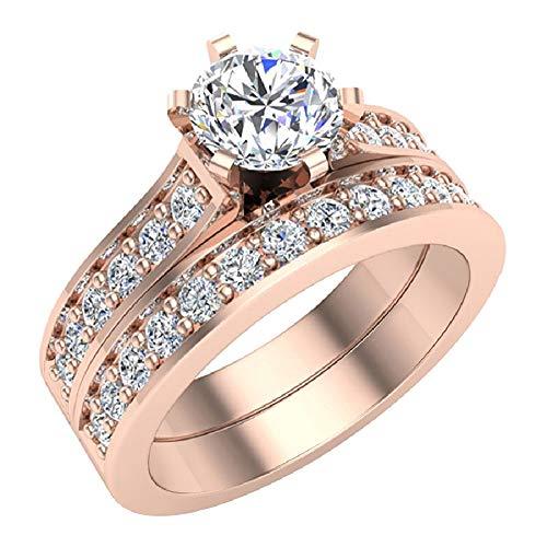 Glitz Design Mujer Niños Hombre Unisex oro 14 quilates (585) oro rosa 14ct round-brilliant-shape G-H Diamante blanco