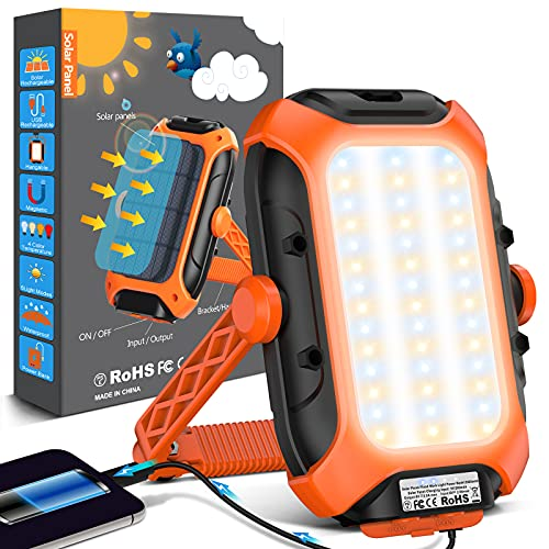 Luz Camping Portatil Linterna Camping - 12000 Mah Solar Batería Recargable Foco Led USB Ip65 Impermeable Lampara Camping Para Tienda, Camping, Senderismo, Emergencia, Trabajo