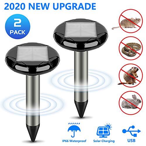 BeauFlw Solar Maulwurfabwehr, Ultrasonic LED Maulwurfschreck, Wühlmausvertreiber, Wühlmausschreck, Mole Repellent, Maulwurfbekämpfung mit IP66...