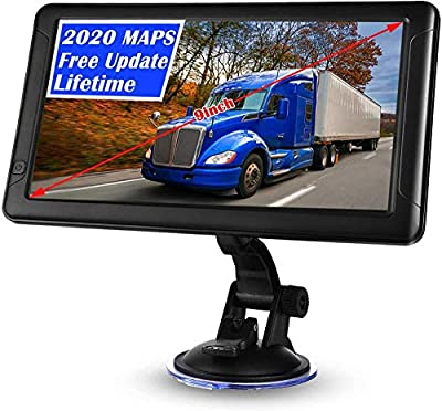 GPS Navigation for Car 9 inch GPS Navigation for Trucks Lorry HGV Caravan Satnav for Cars with POI Speed Camera Warning Voice Guidance Lane Lifetime Map Updates