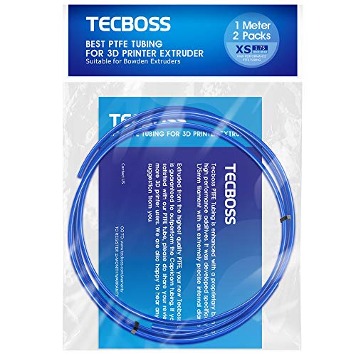 TECBOSS Bowden Tubing, 2 Meter Premium PTFE Teflon Tube for 1.75mm Filament, Compatible with All 1.75mm PLA ABS 3D Printer