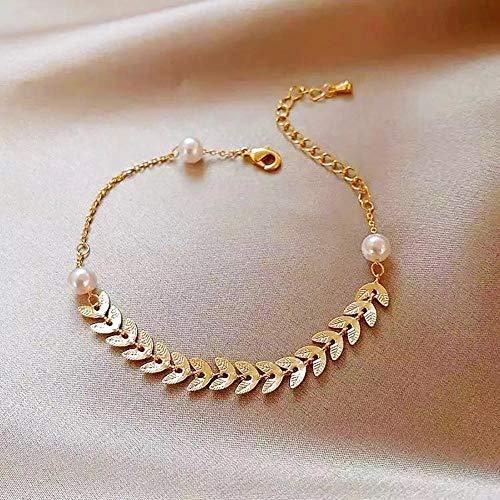 Braccialetti Girocollo con Perle Bianche in Metallo Boemia alla Moda per Donne Braccialetto con Ciondoli Chic Volantino