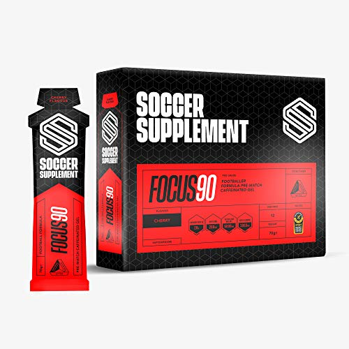Soccer Supplement Focus90 - Caffeine Energy Gel for Footballers, 200mg of Caffeine, Energy and Focus for The Full 90 Minutes, Used by Professional Footballers, Informed Sport Tested, Cherry - 12 Pack