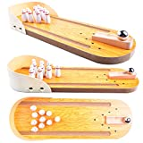 AGREATLIFE Wooden Mini Bowling Game Set with Lane