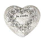 dekojohnson Deko-Herz Grab-Herz mit der Aufschrift In Liebe Grabschmuck Grabdekoration Steinherz mit Rosen-Bouquet Grableger wetterfest antik grau 8cm