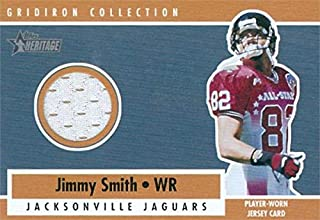 Jimmy Smith player worn jersey patch football card (Jacksonville Jaguars) 2001 Topps Heritage Gridiron Collection All Star #GC6