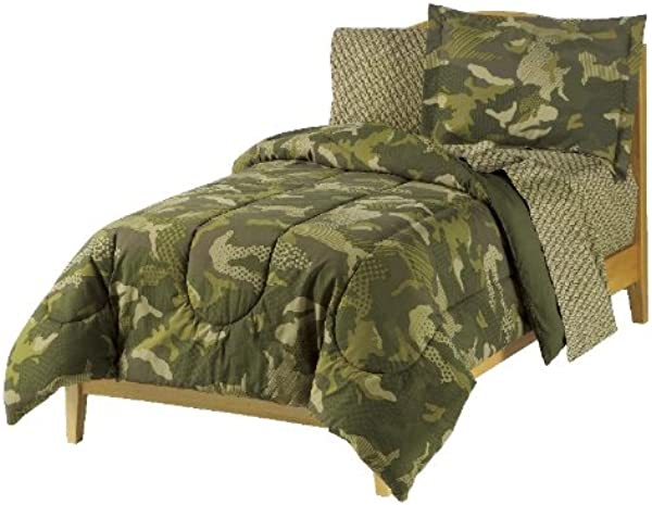 Dream Factory Geo Camo Army Boys Comforter Set Green Full