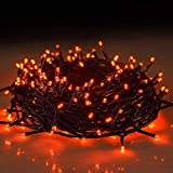 Twinkle Star 66FT 200 LED Indoor String Lights, Plug in String Light 8 Modes Waterproof for Outdoor Halloween Christmas Wedding Party Bedroom Decorations (Orange)