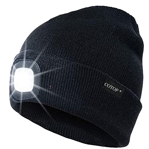 COTOP Cappello Uomo Illuminato Berretto 4 LED, Cappello con Luce LED Cappello Uomo Donna Invernali Berretto a 3 Livelli di luminosit LED Beanie cap… (Black)