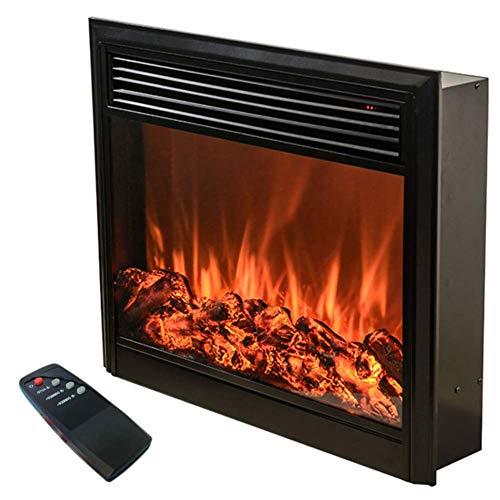 LDM Chimenea eléctrica Decorativa para el hogar 750/1000 W Fuego de Alta simulación Chimenea electrónica calefacción de mármol Pared Estufa Independiente Negro
