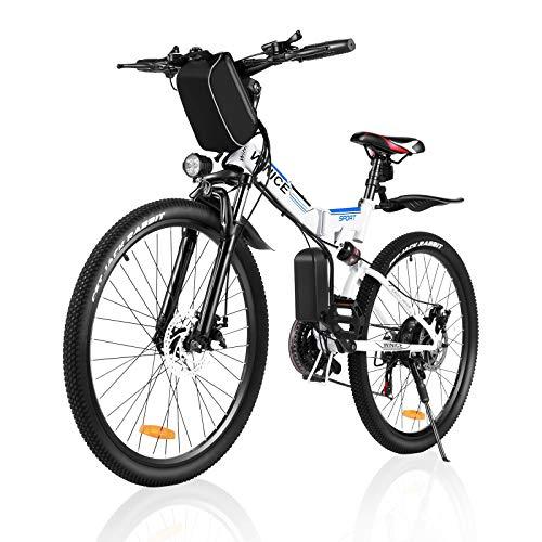 Faltbares Elektrofahrrad für Erwachsene, VIVI Faltbares Elektro-Mountainbike 26 Zoll E-Bike 250W Motor Professionelle Shimano 21 Gang Schaltung mit abnehmbarem36V 8Ah Lithium-Ionen Akku (Weiß)