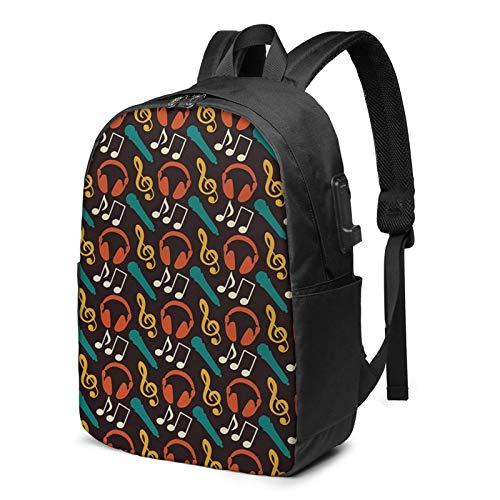 Laptop Backpack with USB Port Dj Headphones Sound Melody, Business Travel Bag, College School Computer Rucksack Bag for Men Women 17 Inch Laptop Notebook