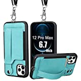 iPhone 12 Pro Max Case Wallet,TOOVREN iPhone 12 Pro Max Case with Card Holder Kickstand Lanyard Neck Strap Adjustable Necklace Protective Cases Cover for Apple iPhone 12 Pro Max 6.7 inch 5G 2020 Green