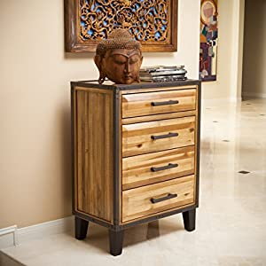 "26""W x 15. 30""D x 36""h Natural Stain finish and iron frame accent Constructed with Acacia wood Features 1 small top drawer and 3 large sized drawers Easy minor assembly required"