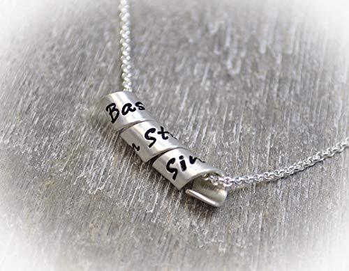 Namenskette, Silberspirale, Silberanhänger mit Wunschgravur