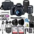 Canon EOS Rebel T7 DSLR Camera Bundle with Canon 18-55mm Lens + Canon EF 75-300mm f/4-5.6 III Lens + 2pc SanDisk 32GB Memory Cards + Accessory Kit