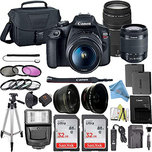 Cheap Canon EOS Rebel T7 DSLR Camera Bundle with Canon 18-55mm Lens + Canon EF 75-300mm f/4-5.6 III ...