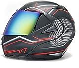 JIBO Casco integral para motocicleta Cross-country, ligero multifuncional Flip Casco, casco anticolisión con lentes dobles, adecuado para adultos y niños, D_L = 59 ~ 60 cm