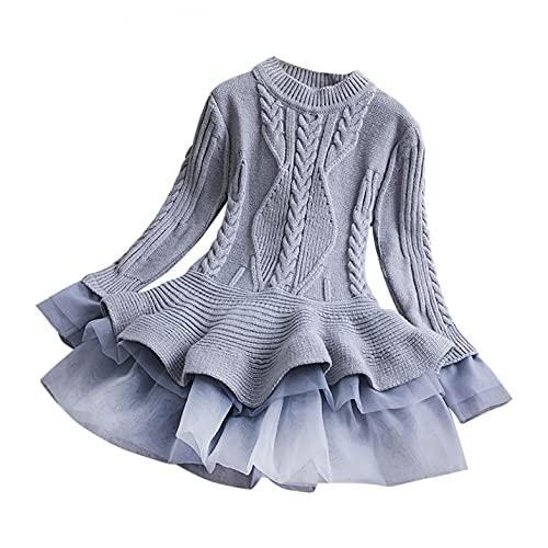 YQSR Elegante vestido de princesa para nia, de manga larga, de princesa, vestido de princesa, vestido de princesa para nios y nias, gris, 6 aos