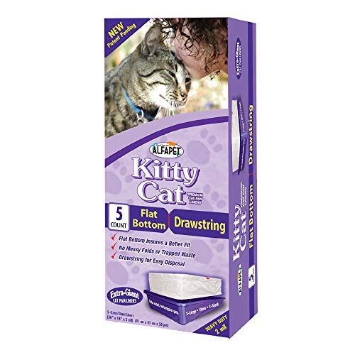 Alfapet cat Litter Box Liners Extra Large1 Box Heavy Duty 2 mil Thick Plastic Clever Drawstring Liner for Easy Disposal Flat Bottom for Easy Secure Placement in Kitty PanDisposable