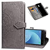 COTDINFORCA J5 Pro Wallet Case, Slim Premium PU Flip Cover Mandala Embossed Full Body Protection with Card Holder Magnetic Closure for Samsung Galaxy J5 Pro 2017 J530. SD Mandala - Gray