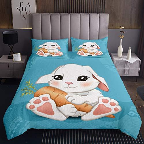 Kaninchen drucken Steppdecke Mädchen niedlichen Karikatur weißen Hasen Bettüberwurf schöne Tiermuster Tagesdecke 240x260cm Kleinkind Mikrofaser blau Hintergr& Wohndecke