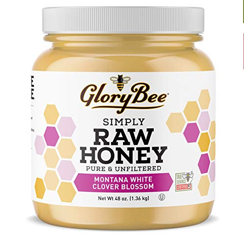 GloryBee, Raw Montana White Clover Honey, 48 oz, 100% Pure, Naturally Raw, Unfiltered, Portion of sales is donated to SAVE-the-BEE, Made-in-U.S.A, Family-Owned, Sweeten Dishes & Beverages