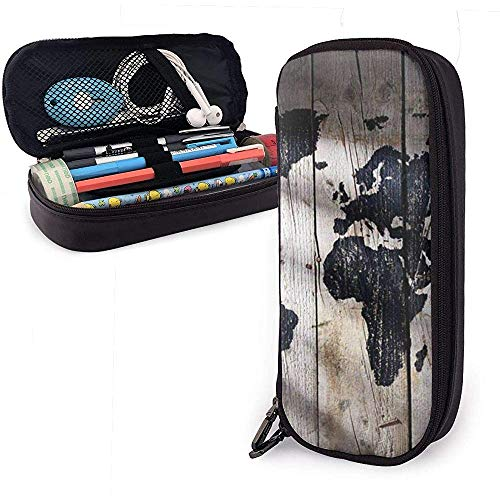 Mapa del mundo negro sobre tablero de madera Bolígrafo lindo Estuche de lápices Cuero Gran capacidad Cremalleras dobles Bolso de lápiz Bolso Bolígrafo Caja 20cm * 9cm * 4cm
