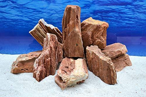 Pro Stein Aquarium Deko Versteinertes Holz rot braun Natursteine 2-3 Kg Felsen Nr.52 Pagode Dekoration Aquascaping