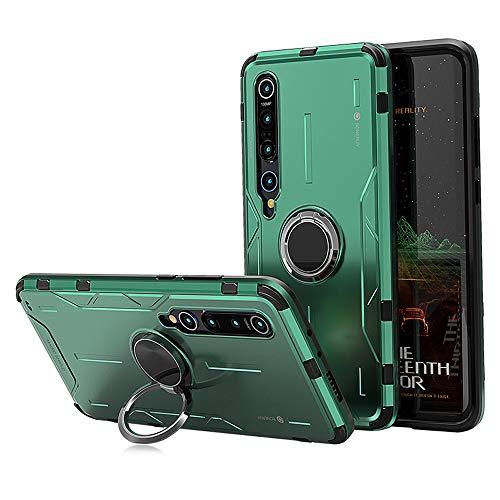 Jonwelsy Funda para Xiaomi Mi 10 Pro/Xiaomi Mi 10, Shockproof Flexible Silicona Carcasa + Aleación de Aluminio Cover con Rotación de 360 Grados Anillo iman Kickstand para Xiaomi Mi 10 Pro (Verde)
