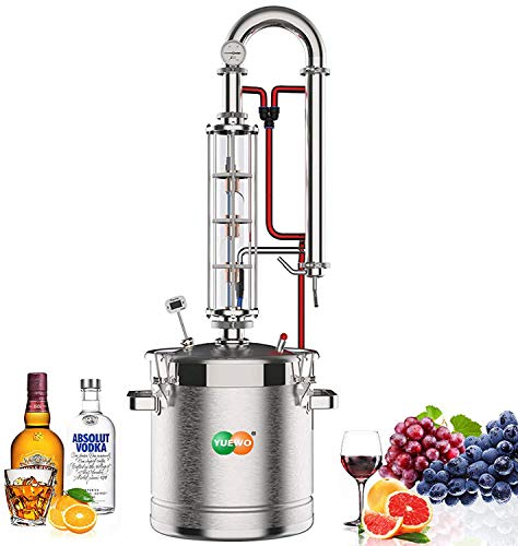 YUEWO Moonshine Still 5.8 Gal 22 litres Stainless Steel Wine Making Kit Water Distiller Home Brewing Kit for DIY Whisky Wine Brandy Gin Vodka