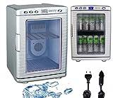 20 Liter Mini Kühlschrank | Minibar | 12V oder 230V für Auto und Steckdose | Kühlbox | Getränkekühlschrank | Tischkühlschrank | Innenbeleuchtung | zusätzliche Wärmefunktion bis zu 60°| (ShoreSilver)