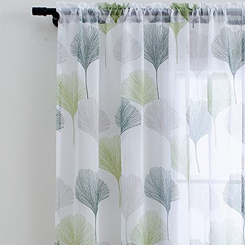 Linentalks White and Green Sheer Floral Curtains 84 inches Long, Scandinavian Design Leaf Patterned Printed Sheer Curtains for Living Room, Bedroom Rod Pocket Window Curtain Drapes Set of 2 Panels